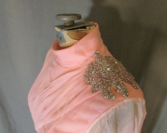 60's Beaded Pink Chiffon Dress Long Sleeve Attached Scarf 1960's Bridesmaid | Formal | Prom | Size 4-6 | Extra Small | Lawrence Welk Show