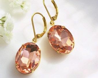 peach earrings, vintage rhinestones, peach and gold earrings, drop earrings, vintage earrings