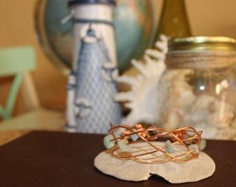 4 Strand Braid Copper Cuff Bracelet with Amazonite Stones
