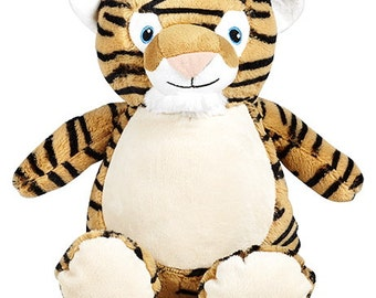 Tiger Cubbie embroidered with your special message - unique gift for babies or kids