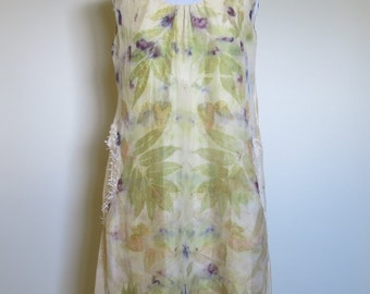 eco dyed with fruits and leaves upcycled silk shift dress