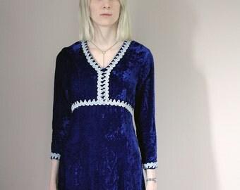 Vintage 60s Blue Velvet Mini Dress - Extra Small/Small