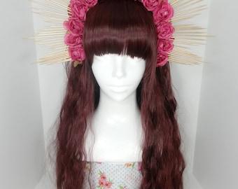 Dusty rose pink sunburst headpiece