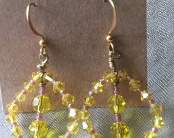 Yellow Crystal Chandelier Earrings