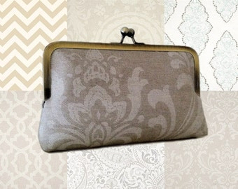 5 (Five) Ivory Themed Bridesmaid Clutches Set- Cream, Tan, Taupe, Light Blue Prints