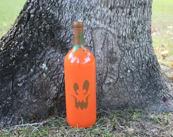 Pumpkin/Handpainted Pumpkin/Halloween Pumpkin/Pumpkin Bottle/Pumpkin Decor/Halloween Decor/ Fall Decor/Autumn Decor