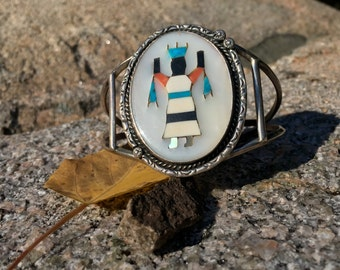 Vintage Zuni Sterling Silver Inlay Bracelet of an Apache Gan Dancer