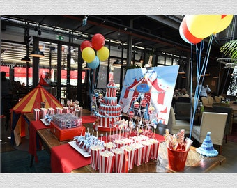Circus Backdrop 60x72 inches for Circus Birthday, Personalized Carnival Backdrop Printable. DIY Circus Dessert Table Backdrop