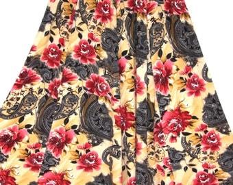 SALE! Vintage Floral Print Long Skirt