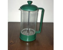 Vintage 1980s Green Bodum Six (6) Cup French Press Coffee Maker / Made in Denmark / Coffee Plunger / Coffee Pot