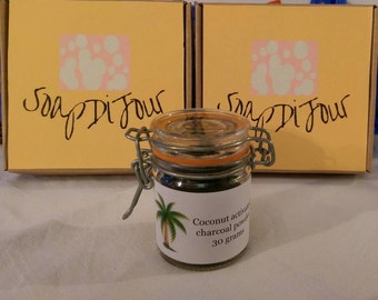 Coconut activated carbon/charcoal powder in 30g in a handy clip top jar