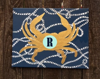 Crab Painting- initial or monogram added