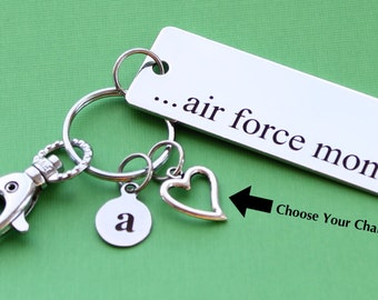 Personalized Air Force Key Chain Air Force Mom Stainless Steel Customized with Your Charm & Initial -K16