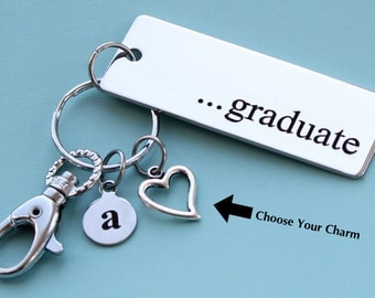 Personalized Graduate Key Chain Stainless Steel Customized with Your Charm & Initial -K501