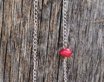 Coral Bead Necklace, Four Coral Beads with One Coral Bead Floating on Silver Chain Necklace