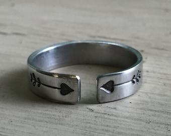 Arrow Thumb Ring - Silver - Thumb Ring - Open
