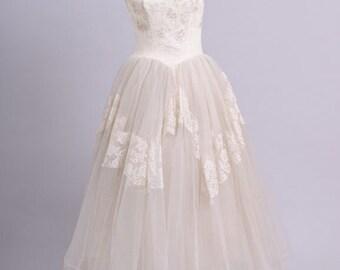 1950 Tea Length Tulle Vintage Wedding Dress