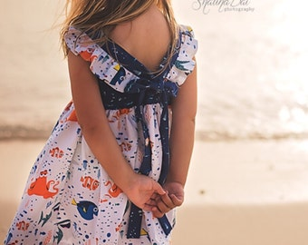 Finding Dory Sundress  Flutter Sleeves Pleated or Plain Bodice Bow 2T 3T 4T 5T