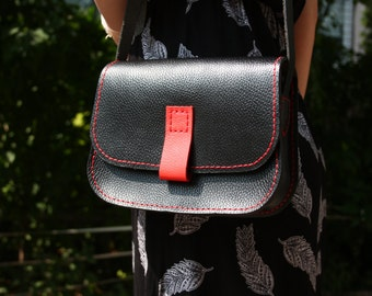 Carmen - hand-sewn black leather purse with red accents
