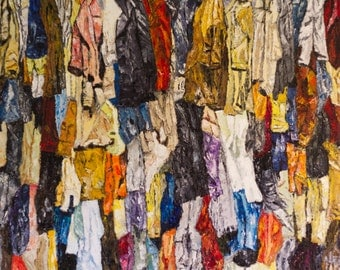 BRIC to brac in the souk. Clothes hanging in a souk. Original painting. Oil painting. Stretched canvas ready to hang.
