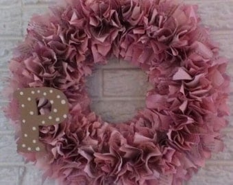 Handmade Colored Page Wreath with or without Monogram