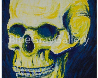 Skull - Impressionist Painting Print - BlueGrayGallery