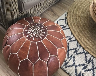 SALE*** STUFFED Moroccan Leather pouf ottoman with top embroidery in Dark Tan and White