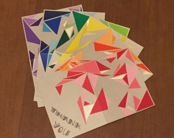 Handmade Abstract Rainbow Thank You Cards - set of 6 w/ envelopes