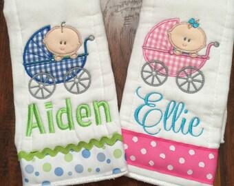 Adorable Boy or Girl Baby Carriage Burp Cloth