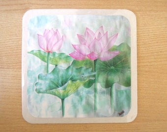 pink lotus watercolour coasters or wall decor (set of 4)