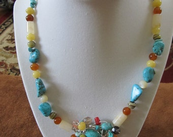 Handmade, wire wrap, Turquoise, Agate, Carnelian, Botswana Agate, Jade, Amazonite, Moonstone, Amethyst, and Glass Crystal necklace