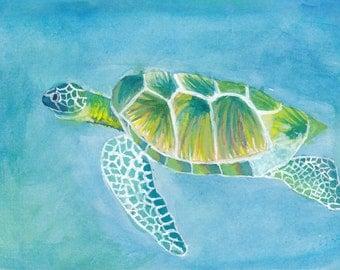 Green Sea Turtle Watercolor Print