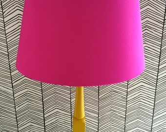 French Drum Lampshade in Cerise Pink Silk Dupion with Metallic Copper lining