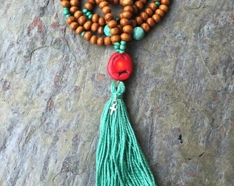 Mala- Christian Prayer beads- wood, red coral, turquoise, sterling silver cross