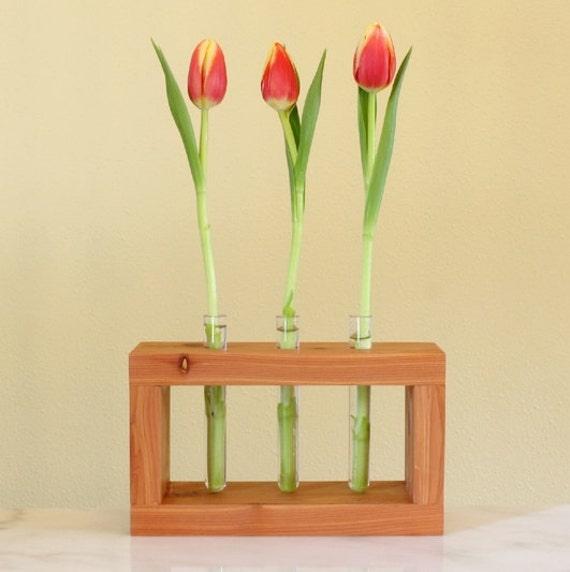 Test tube flower vase cedar for Test tube flower vase rack