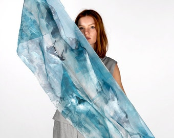 Atlantic Blue Silk Scarf, Illustrated with Mountains and fishing boat