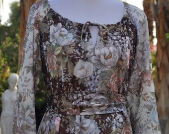 Vintage 1970s Brown Floral Dress with Ruffled Hem by Mary Martin for Rainbow of California Sz M