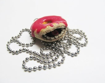 OOAK Polymer Clay Donut Necklace, Unique Charm, Unique Necklace, One Of A Kind,