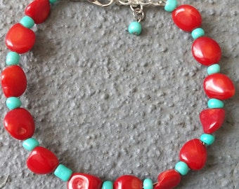 Red and Turquoise Bracelet