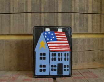 Primitive Folk Art Salt Box House Chuncky Block Shelf Sitter