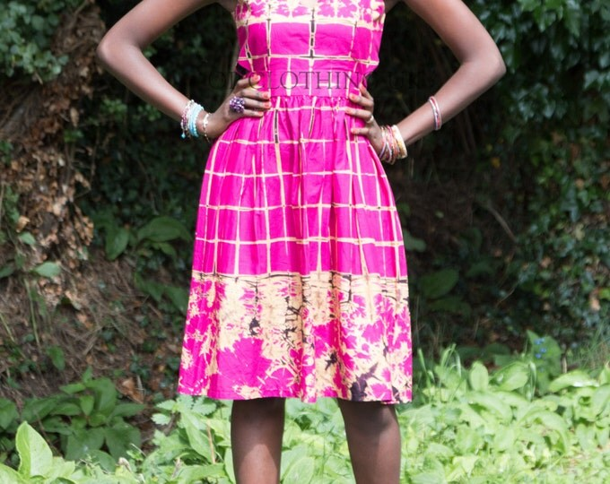 Pink dress, African dress, Tye-dye dress, African print dress, v-neck dress, patterned dress