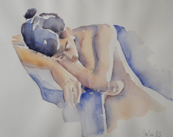 NUDE watercolor 60 x 80 cm