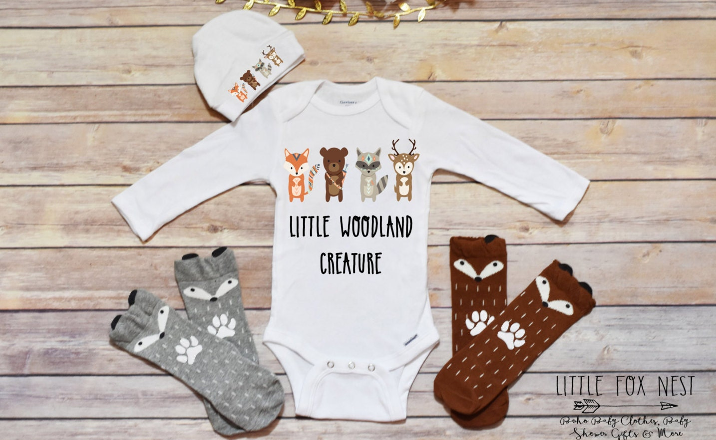Baby Boy Outfit Woodland Creatures Baby Shower Gift