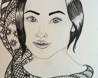 Female Portrait w/pattern 1