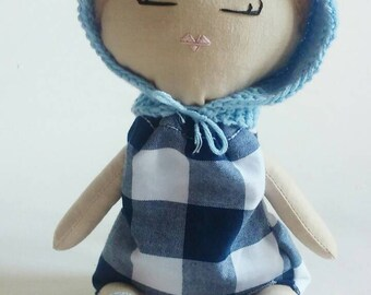 Knit pixie hats and scarves for Heirloom dolls
