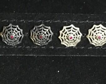 Silver spider web earrings