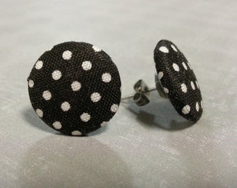 Fabric button dot earrings, stainless surgical steel post studs