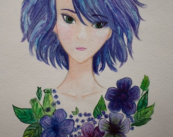 Portrait of the girl with blue hair and flowers.