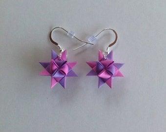 Moravian Star Earrings—Lavender Two Tone