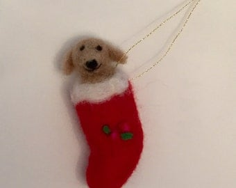 Handmade Needle Felted Dog in Stocking Ornament